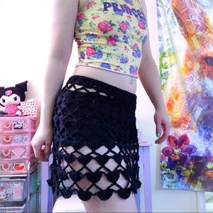 Black crochet festival skirt